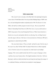 NDSU Choir Essay