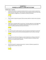 Chapter 2 Financial Markets and Institutions Practice Test