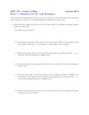 Worksheet on Center of Mass