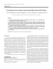Correlation between Saliva Glycated and Blood Glycated Proteins.pdf
