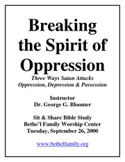 Breaking the Spirit of Oppression