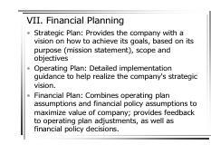 CFM7 pdf - VII Financial Planning Strategic Plan Provides