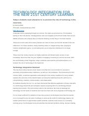 TECHNOLOGY INTEGRATION FOR THE NEW 21ST CENTURY LEARNER