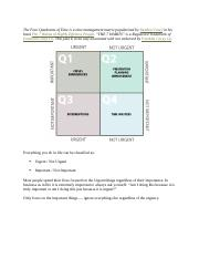 The Four Quadrants of Time by Stephen Covey