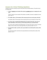 Answers Chapter 16 Critical Thinking Questions