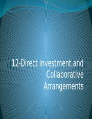 12. Direct Investment and Collaborative Arrangements