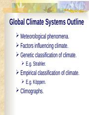 Global climate systems