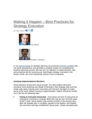 Best practices in strategy execution