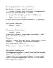 Criminology- Study Guide- Variation and Institutions