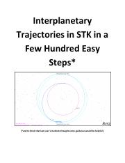 Interplanetary Trajectories in STK in Few Hundred Easy Steps