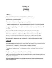 Economics 202 Study Guide-Fourth Exam-Spring 2016