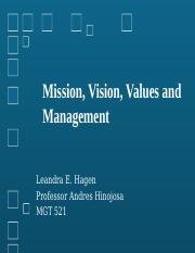 Mission, Vision, Values and Management (2)ss
