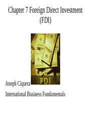 Chapter 7 Foreign Direct Investment (FDI)