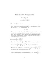 MATH 3790 Fall 2003 Assignment 1 Solutions