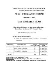 AF302 sem 1-2017 mid-test format  coverage