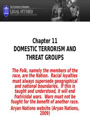 Chapter 11 post Domestic Terrorism and Threat Groups 2014.ppt