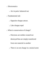 Electrostatics Class Notes