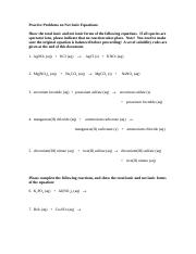 Ionic equation practice problems
