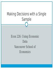 Chapt.7 Single Sample Decisions