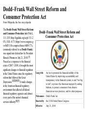 Dodd-Frank docx - THE DODD-FRANK WALL STREET REFORM 1 The