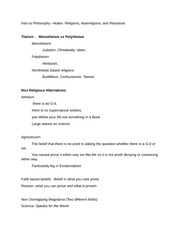 Intro to Philosophy- Notes- Religions, Nonreligions, and Reactions