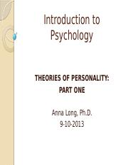 1Chapter 13- Theories of Personality-Part 1
