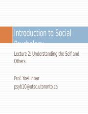 Lecture 2-Understanding the Self and Others