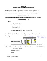 Topic 9-Joint Discrete Random Variables