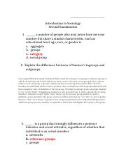 Winter 2015 Introduction to Sociology Second Examination