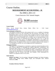 Course Outline-Management Accounting