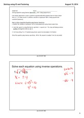 Solving using IO and Factoring