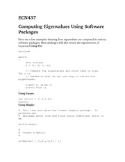 ECN437Computing Eigenvalues Using Software Packages