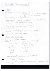 Class Notes Relativity two