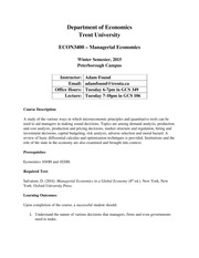 Managerial Economics Course Outline - Winter 2015 (1)