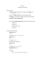 ECE 2372 Number Systems NOTES