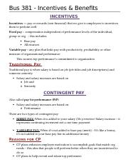 Bus 381- Incentives and Benefits.docx