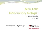 BIOL1003 -1_Course overview - Fall2013