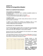 Chapter 14 Firms in Competitive Market