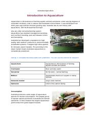 Australian Agriculture- Introduction to Aqaculture_[2235].docx