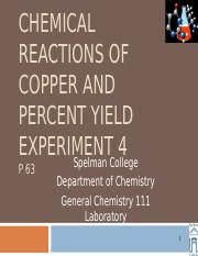 Experiment 4 Copper Reactions and  Percent Yield 2014 (1)