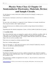 Physics Notes Class 12 Chapter 14 Semiconductor Electronics, Materials, Devices and Sample Circuits.
