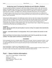 Analyzing and Comparing Medieval and Modern Ballads