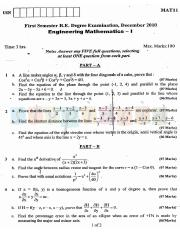 (www.entrance-exam.net)-VTU, Bangalore 1st Semester Chemistry Cycle- Maths-I Sample Paper 2