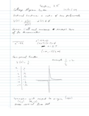 College Algebra Notes - 3.5 - Graphing Rational Functions