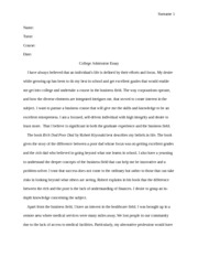 college admission essay