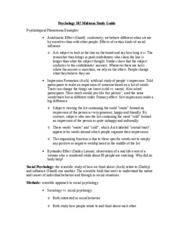 Psychology 102 Midterm Study Guide