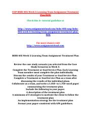 UOP BSHS 405 Week 5 Learning Team Assignment Treatment Plan NEW.doc