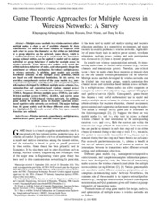 Game Theoretic Approaches for Multiple Access in Wireless Com - a survey 2011