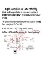 Capital Accumulation and Factor Productivity