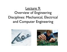 Lecture 9 Overview of Eng Disc MECH ECE - section 1